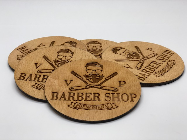 Drevene podtacky Barber Shop by Laser King